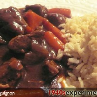 Julia Childs Boeuf Bourguignon 1940s ration style