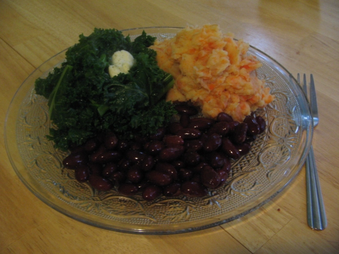 Dinner tonight was carrot and potato mash served with kidney beans and kale. Lots of iron and protein, fibre and vitamins. Cost about 60p per portion and around 750 calories.