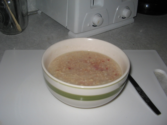 Todays breakfast- big bowl of porridge with some jam in :)