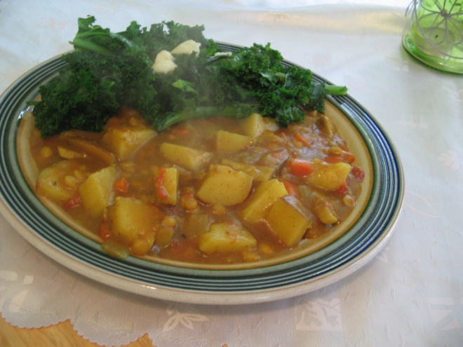 Dinner today- Potato and Lentil curry served with kale. Lots of protein, fibre and iron again! About 800 cals and 60p per portion