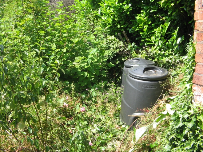 I found some composters hidden in the weeds!