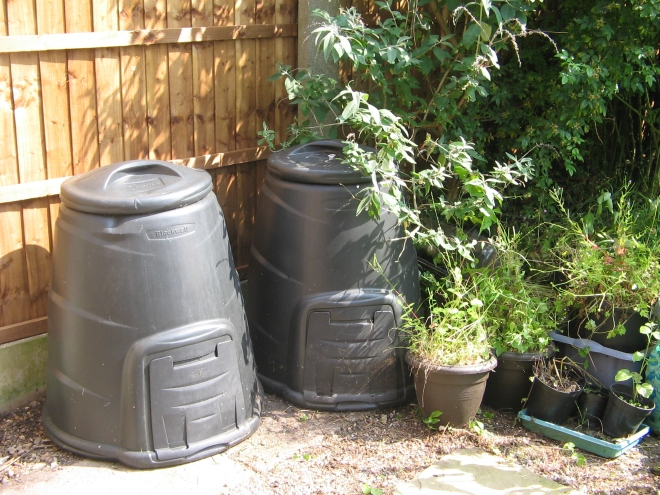 I resurrected two composters that I found in an overgrown area of the garden. I've also found lots of pots filled with weeds which I am going to utilize!