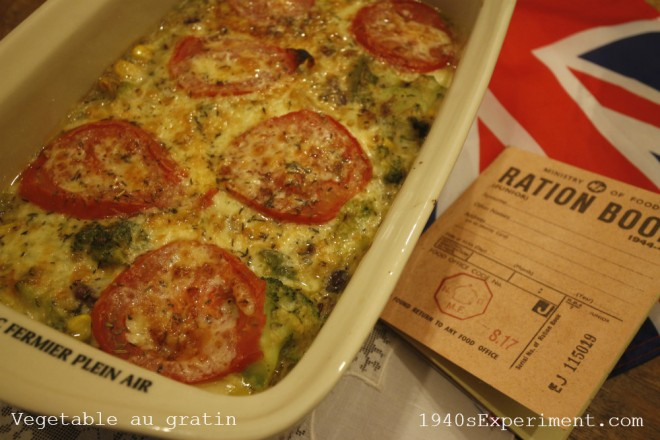Vegetable au Gratin – Recipe No 135 – The 1940's Experiment
