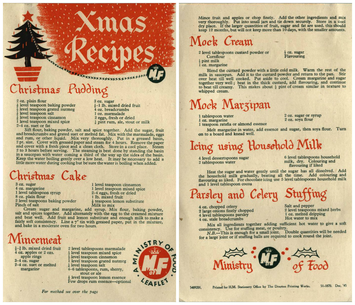 Ww2 Christmas Recipe Pamphlets Ministry Of Food The